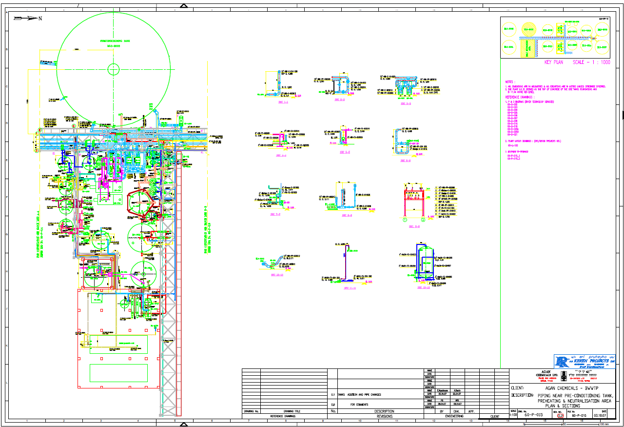 Piping Layout Drawing generated using 3D Plant Design software
